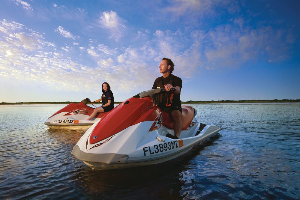 Guided waverunner tours take visitors on slow speed excursions through the estuary habitats, for close up views of birds and other wildlife.
