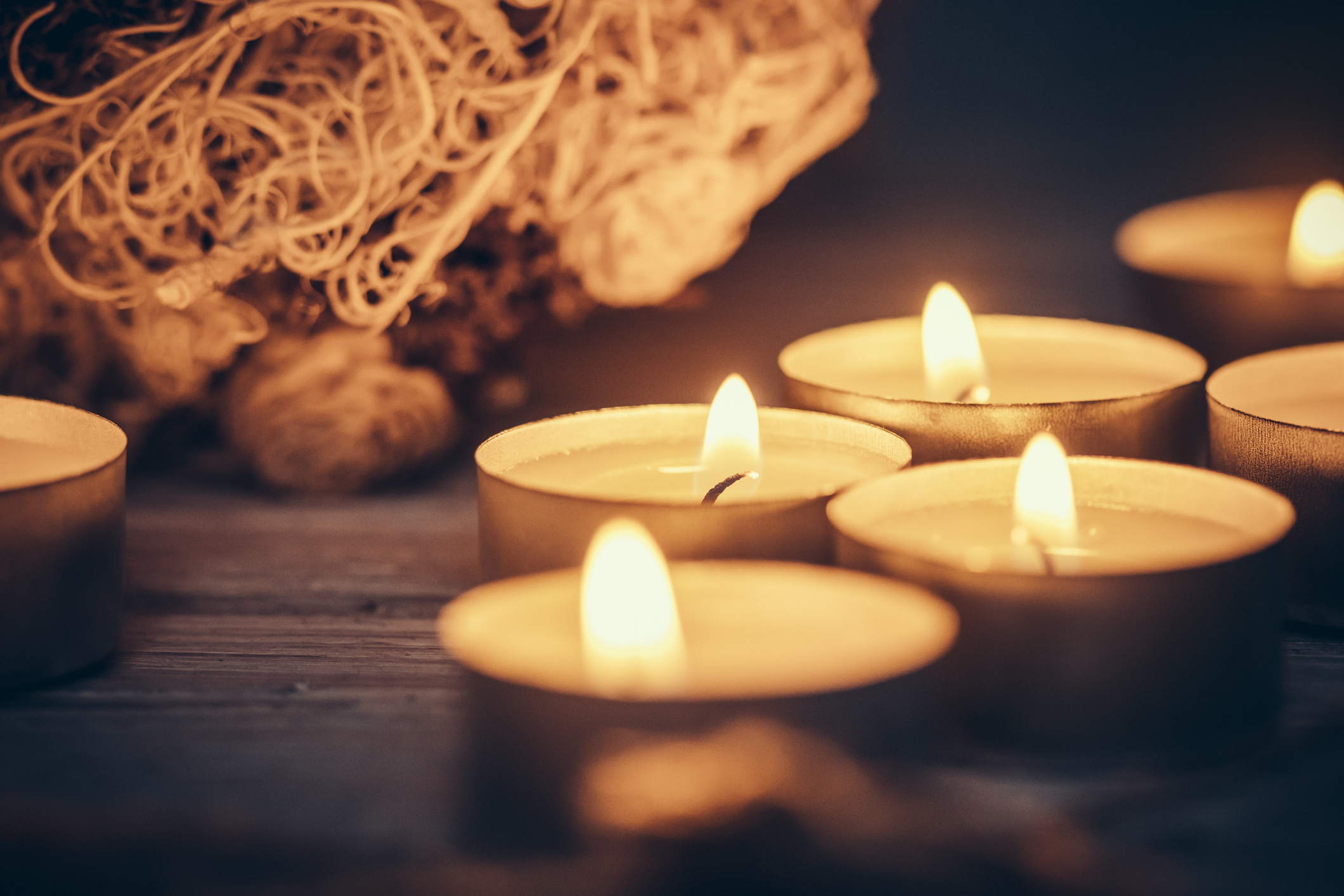 Holiday candles. Symbol of hope. Stock photo.