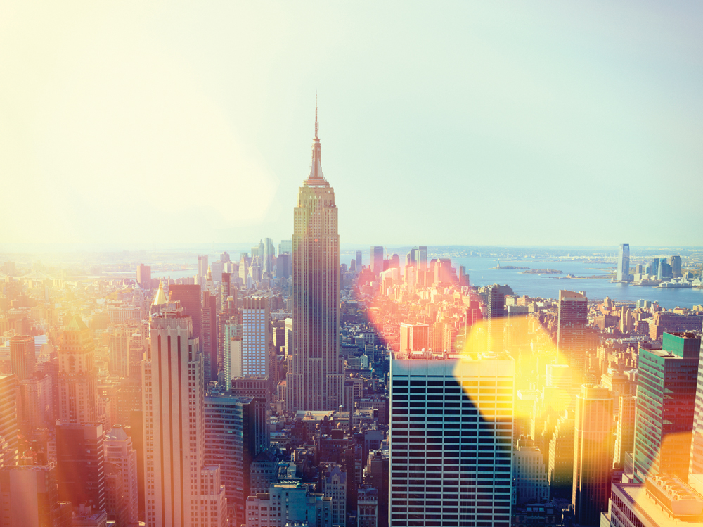 Aerial view of New York City and Empire State Building.